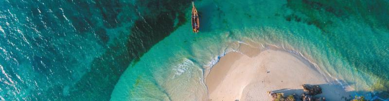Aerial view of Funba Island, Zanzibar