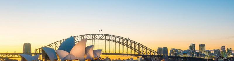 Sydney Opera House and Harbour Bridge in New South Wales at sunset