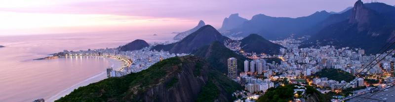 Ariel view of Rio de Janeiro at sunset, Brazil