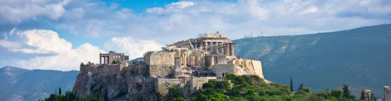 A view of the acropolis in Athens, Greece