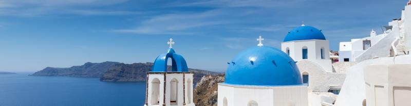Blue domed rooftops in Santorini, Greece