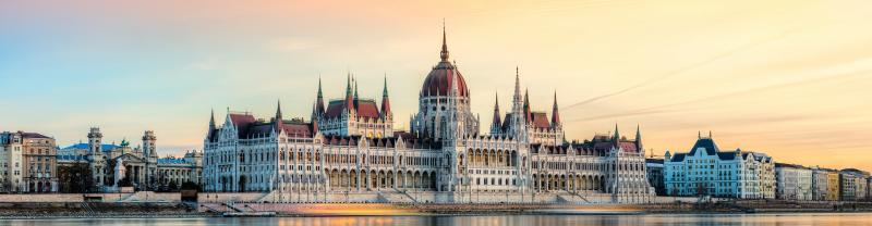 Sunset over the Parliament building in Budapest, Hungary