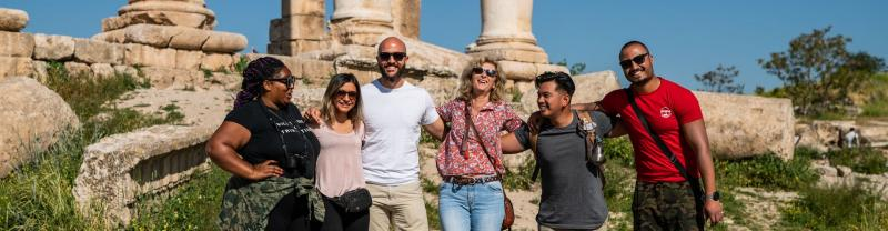 A group of travelers in Amman, Jordan