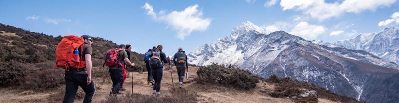 Trekkers walking to Everest Base Camp