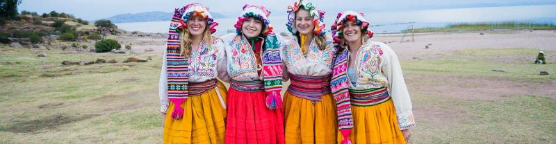Travellers dressed in traditional clothing, Lake Titcaca
