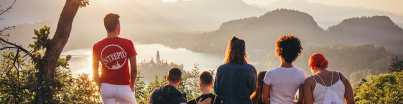 Intrepid travellers look over Lake Bled, Slovenia