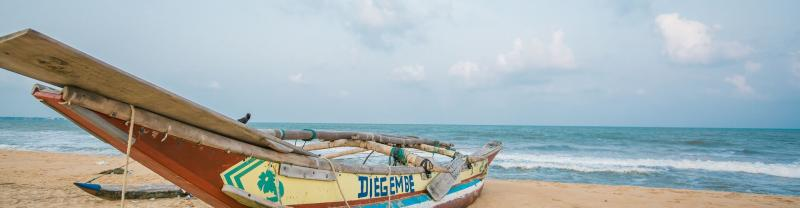 A fishing boat in Negombo beach, Sri Lanka
