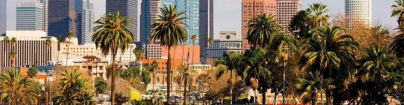 Sunny day in downtown Los Angeles in California