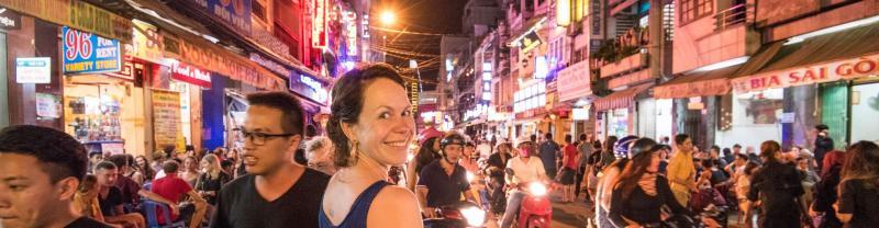 A traveler in Ho Chi Minh City, Vietnam