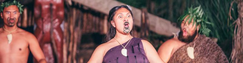 Maori woman in traditional performance