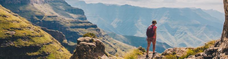Hiker in Drakensberg Mountains