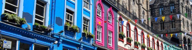 Colourful buildings in Grassmarket, Edinburgh