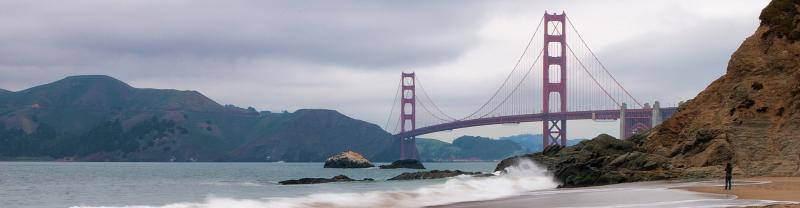A stormy view of the Golden Gate Bridge in San Francisco.