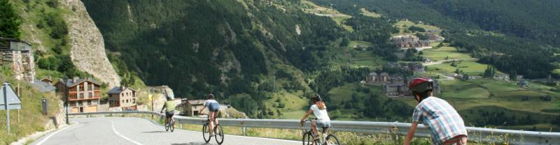 Family cycling in Andorra