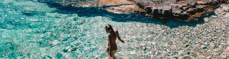 Swimming in the Cyclades Islands, Greece