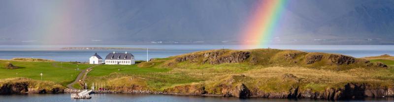 Rainbow forms over Reykjavik, Iceland