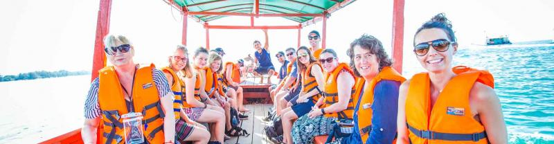 Happy group of travellers explore sihanoukville, Cambodia