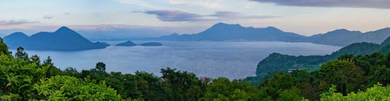 Mountainous coastline of Lake Toya, Hokkaido