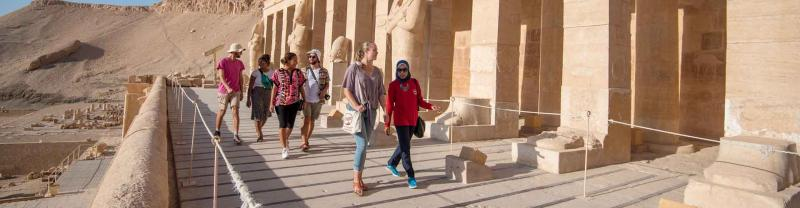 Travellers visit the ancient sites of luxor
