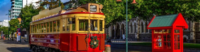 An iconic cable car on the streets of Christchurch.