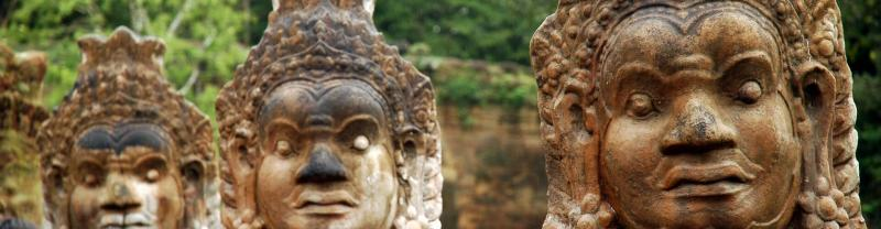 Statues at Angkor Wat in Cambodia