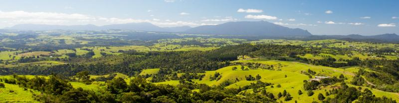 Scenic view of the Atherton Tablelands on a bright and sunny day