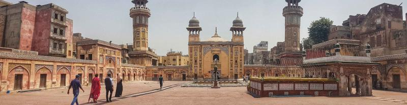 Panorama of the mosque's courtyard facing towards the mosque's prayer hall