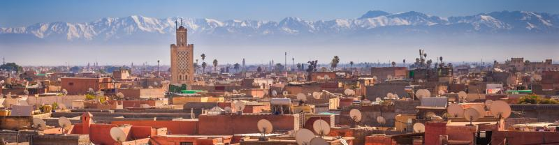 Atlas mountains and the Marrakech buildings in horizon