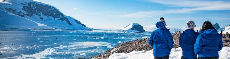 Passengers admire the scenery in Antarctica