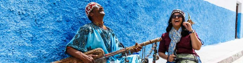 Local musician busks in Rabat