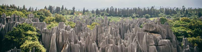 Rocky landscape of the Yunnan stone forest mountains