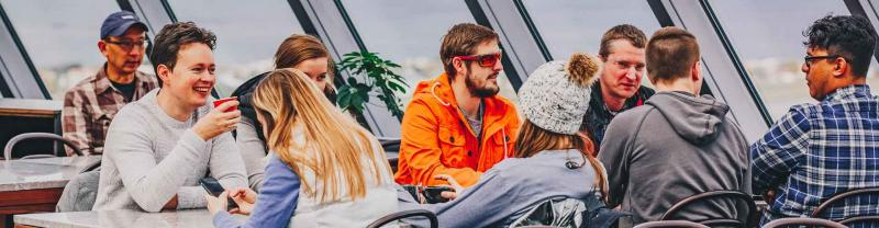 Travellers enjoy a drink in Reyjkavik, Iceland