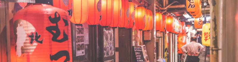 Lanterns line back street in Tokyo