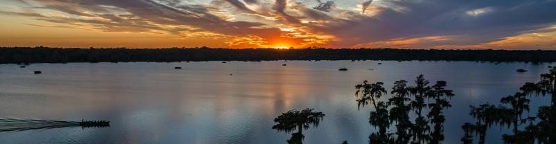 Lake Martin at sunset in New Orleans, Louisiana