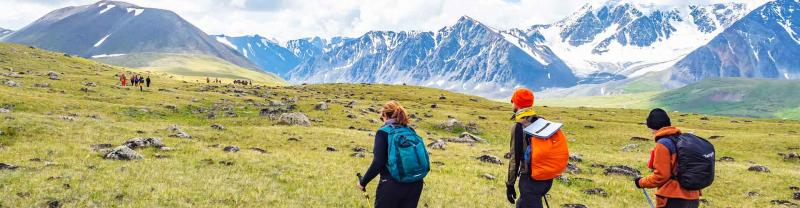 Travellers hike in Mongolia