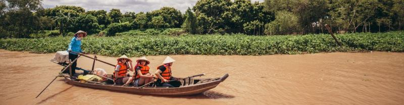 Canoeing activity in Mekong Delta, Vietnam
