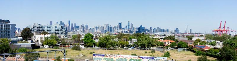 Melbourne skyline as seen from the Western suburb of Footscray