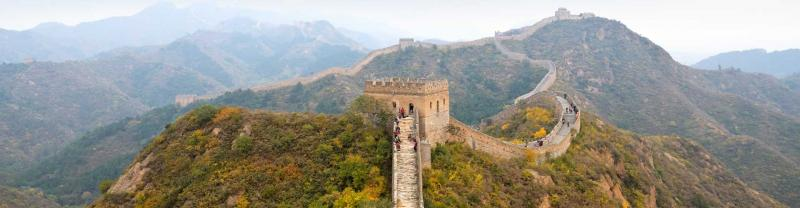 Travellers hike the great wall of China