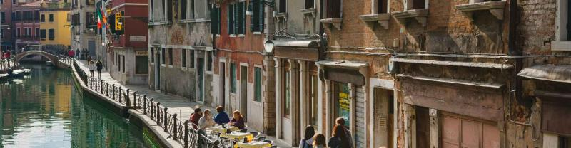 People dining along the streets of venice