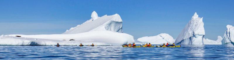 Travellers kayak around icebergs in Antarctica