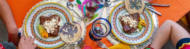 Local Mexican food on a colourful table