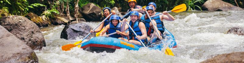 Whitewater rafting in Indonesia, part of the Intrepid Active theme