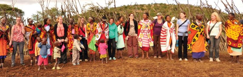 Group of travellers with Masai Mara in Tanzania