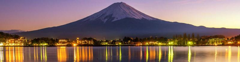 Mount Fuji reflects on the river, Japan