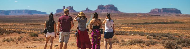 Group of travellers posing in the desert in the United States