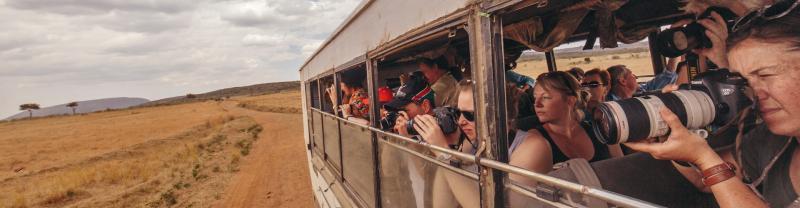 Photographing wildlife on the Masai Mara, Kenya