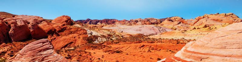 The sunny Las Vegas desert during the day