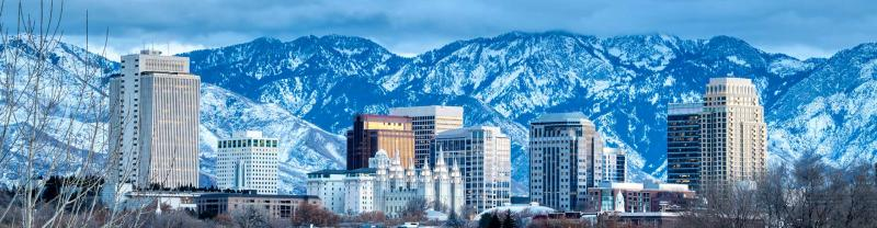 Salt Lake City with the snow-capped Wasatch Mountains in the background.
