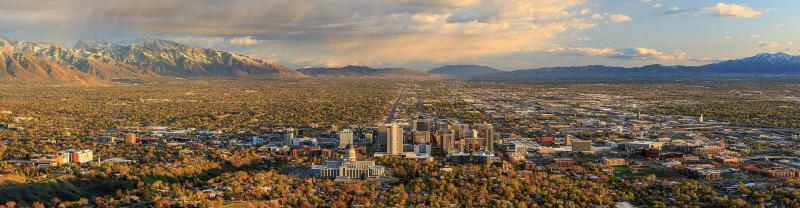 A panoramic view of Salt Lake City and its surrounding regions.