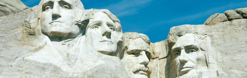 Sculpted faces of past Presidents at Mount Rushmore, USA